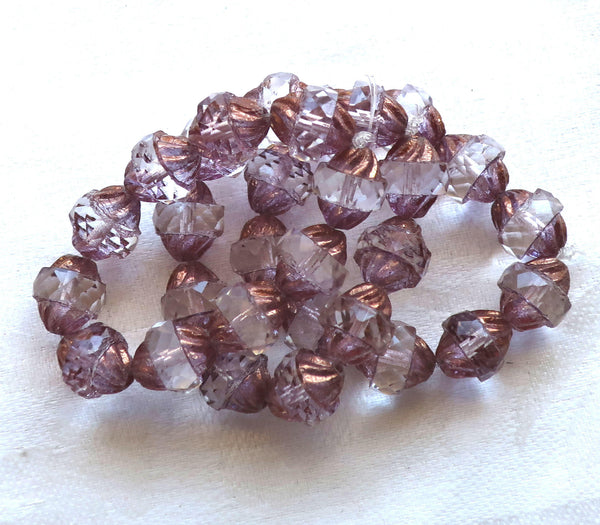 Ten Czech glass turbine beads, 11 x 10mm crystal & lavender, lilac beads with a bronze picasso finish, 292101 - Glorious Glass Beads