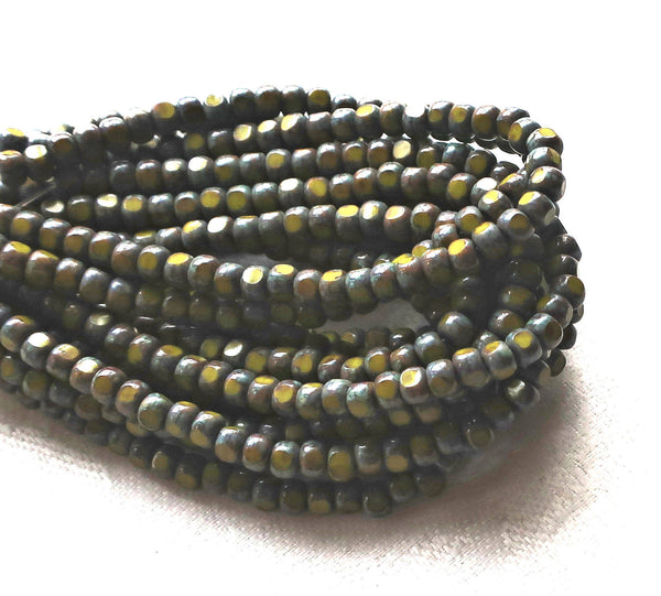 50 4 x 3mm, Tricut, Tri-cut, 3 cut Round Czech glass beads, opaque Avacado Green picasso, earthy, rustic 6/0 seed beads C33101 - Glorious Glass Beads