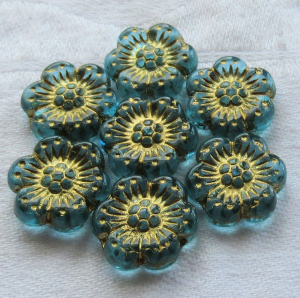 Twelve Czech glass wild rose flower beads - 14mm transparent aqua blue floral beads with a gold wash C05105