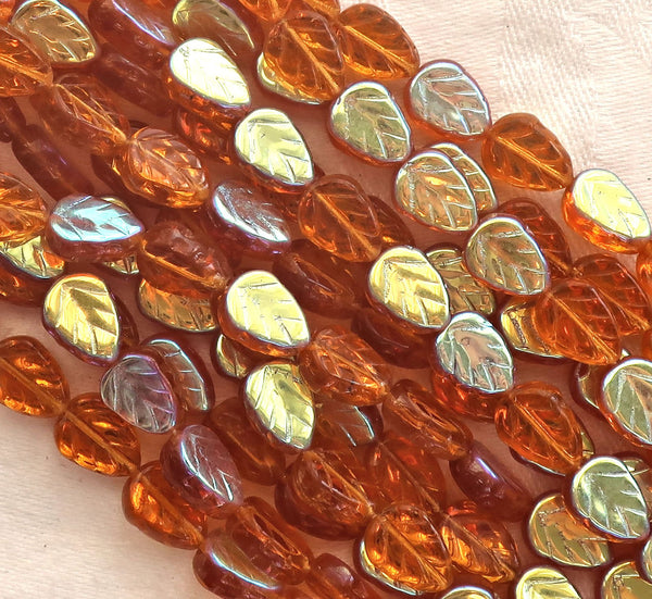 Lot of 25 Czech glass leaf beads - Dark Amber Topaz AB - center drilled 8 x 10mm beads C4501 - Glorious Glass Beads