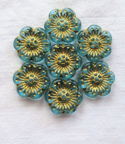 Twelve Czech glass wild rose flower beads - 14mm transparent aqua blue floral beads with a gold wash C05105 - Glorious Glass Beads