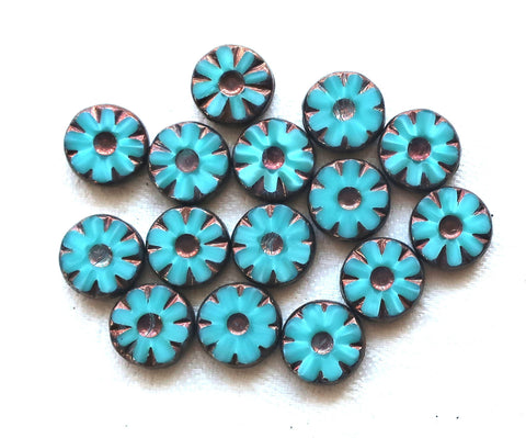 Six Czech glass flower, wheel or disc beads, table cut, carved, turquoise blue silk glass w/ bronze accents, daisy beads, 12mm x 4mm, C23101