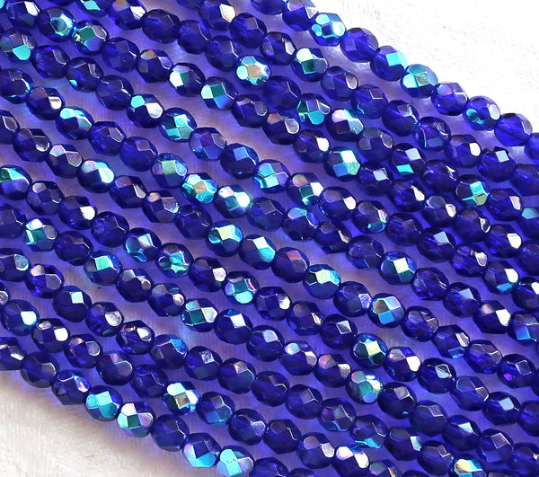 Lot of 50 4mm Czech glass beads, Cobalt Blue AB, firepolished, faceted, round beads C8550 - Glorious Glass Beads