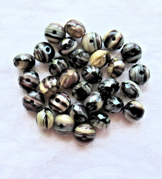 30 Czech glass puffy rondelle beads - 6 x 9mm - black & amethyst marbled w/ white and ivory color mix faceted rondelles, C80201 - Glorious Glass Beads