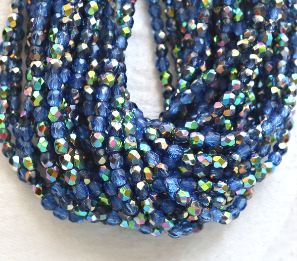 Lot of 50 3mm Sapphire Blue Vitral Czech glass beads, firepolished faceted round beads C8450
