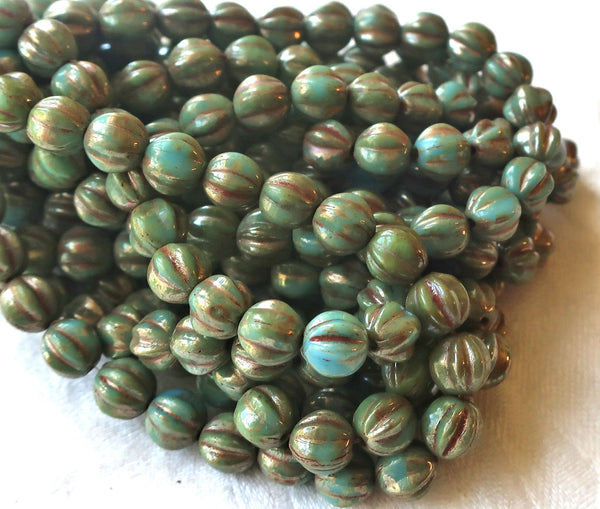 25 Czech pressed glass melon beads, 6mm opaque Turquoise Blue with a Picasso finish C0901