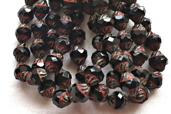 Six Czech glass turbine beads, 11 x 10mm opaque black Czech glass beads with a picasso finish, saturn beads C80101