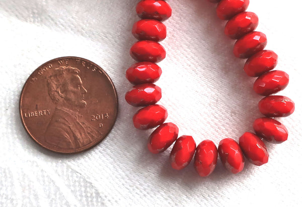 Lot of 25 Opaque Bright Red Picasso faceted puffy rondelle or donut beads, 5 x 7mm, Czech glass beads C16101 - Glorious Glass Beads