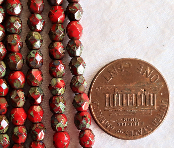 Lot of 50 4mm round - faceted- firepolished - Czech glass beads - Opaque Red w/ full picasso coat - earthy - rustic beads C2601