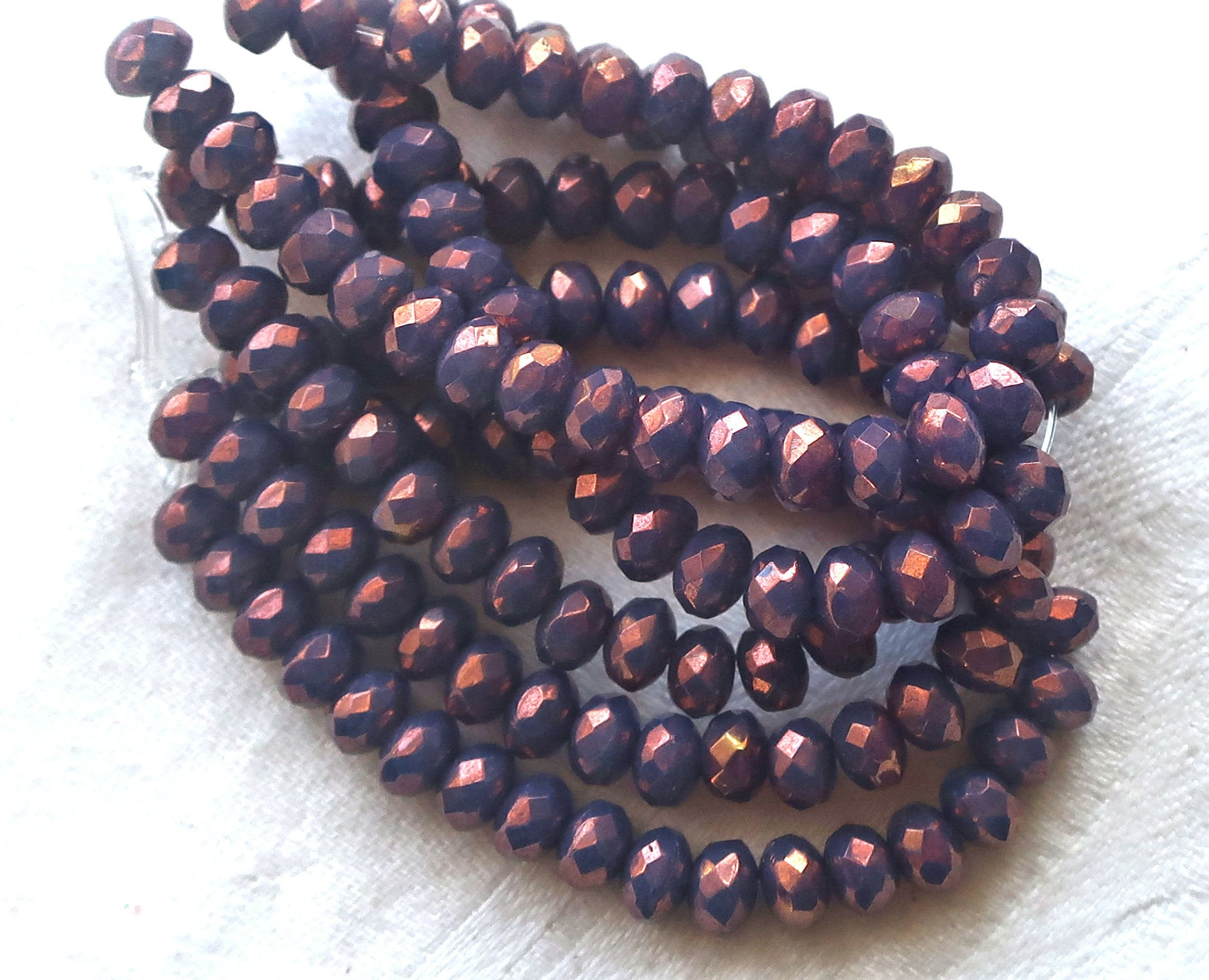 20pcs 3x5mm Purple Luster Czech Beads Rondelle Beads Faceted Beads Glass Beads Donut Beads Jewelry Making Beading Supplies DIY Supplies