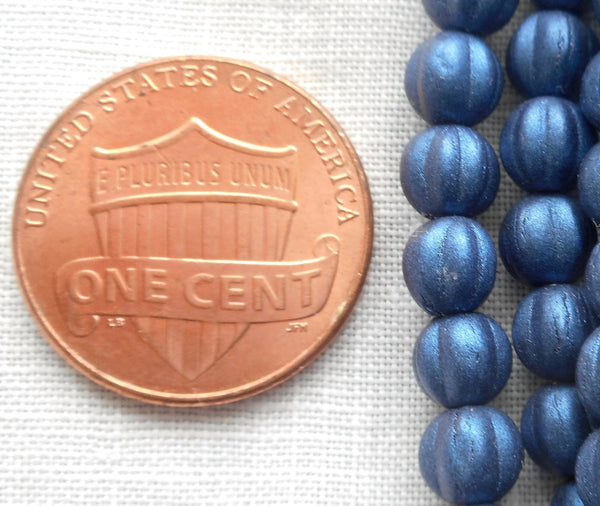 Fifty 5mm Matte Metallic Suede Dark Navy Blue melon beads, Czech pressed glass beads C0950 - Glorious Glass Beads