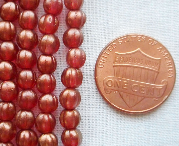Fifty 5mm Halo Cardinal Czech glass melon beads, red gold coated glass beads C33101 - Glorious Glass Beads