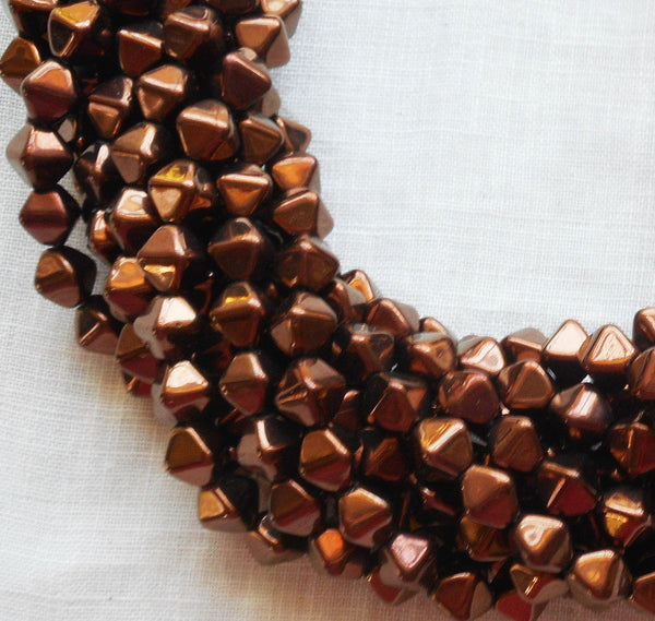 Fifty 6mm Luster Dark Bronze bicones, metallic brown pressed glass Czech bicone beads C0001