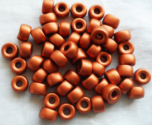 Lot of 25 9mm Czech Matte Metallic Copper glass pony roller beads, large hole crow beads, C6601 - Glorious Glass Beads