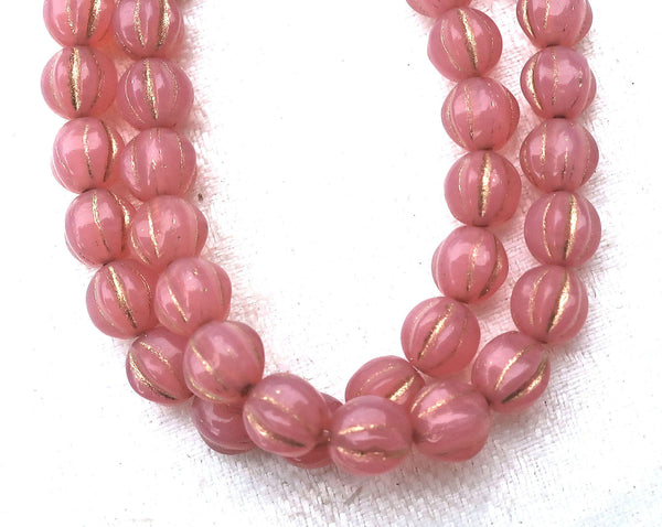 25 Czech pink glass melon beads, 6mm milky pink opal with gold accents. pressed Czech glass beads C0801
