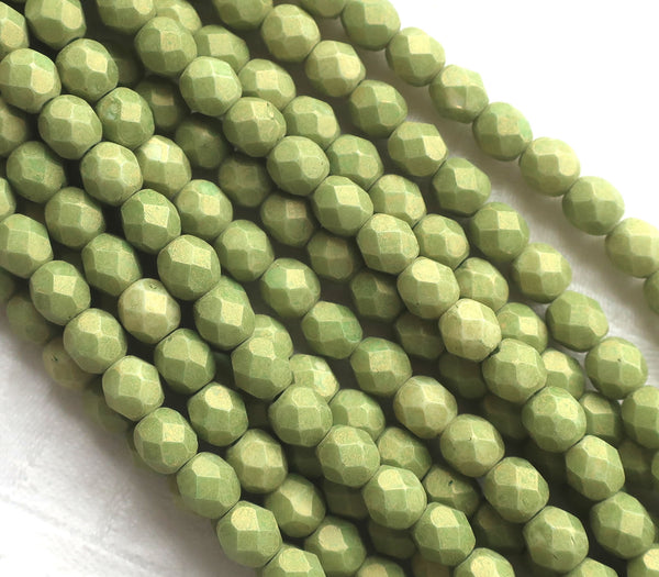 Lot of 25 6mm Opaque Pacifica Avocado green Czech glass beads, firepolished, faceted round beads, C8625