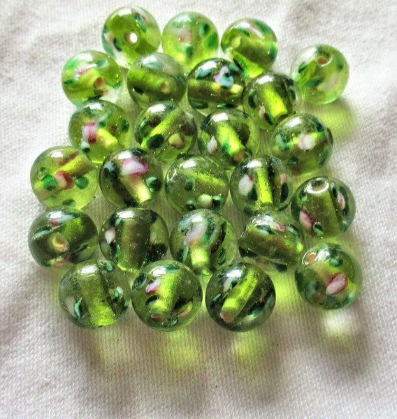 Lot of ten 10mm olivine, olive green glass floral druk beads - made in India glass flower druks C4701