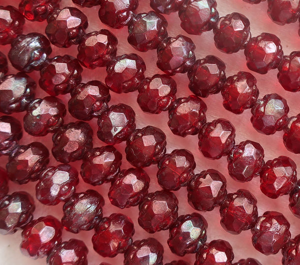 Lot of 25 Czech glass rosebud beads - Siam Ruby Garnet Red Vega - 5 x 6mm - faceted - firepolished - antique cut beads C2901 - Glorious Glass Beads