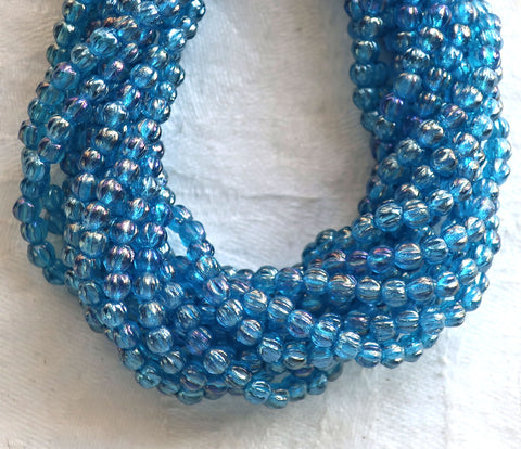 Lot of 100 3mm Czech glass melon beads, Luster Iris Capri Blue pressed glass beads C53150