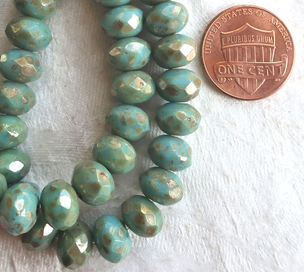 25 Opaque sky blue Picasso puffy rondelles beads, 6 x 8mm rustic. earthy, faceted Czech glass rondelles C07201 - Glorious Glass Beads