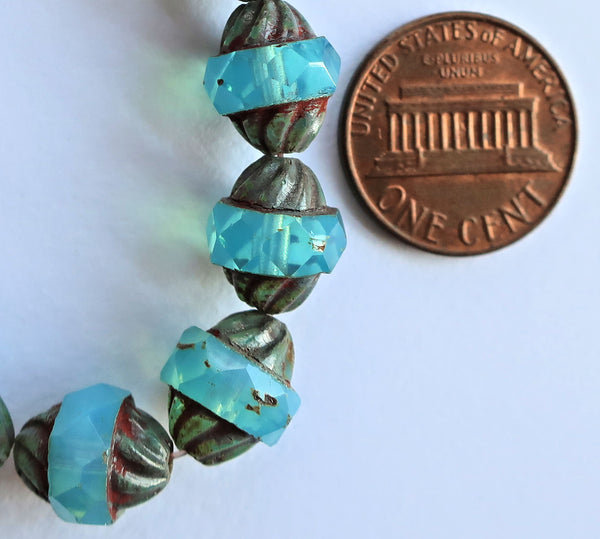 Five Czech glass turbine beads, 11 x 10mm Aqua Blue Opal beads with a picasso finish, saturn beads C00101