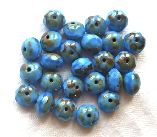 25 Czech glass faceted puffy rondelle beads, 6 x 8mm opaque silky sky blue picasso rondelles on sale 55101 - Glorious Glass Beads