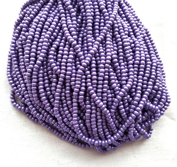 24 grams Czech glass 6/0 seed beads - opaque lilac purple matte pearl size 6 Preciosa Rocaille 4mm spacer beads - C0031