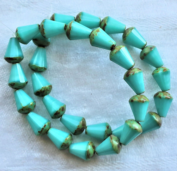 Lot of 15 8 x 6mm Czech glass teardrop beads - opaque turquoise blue silk w/ picasso - special cut, faceted, firepolished beads C05101