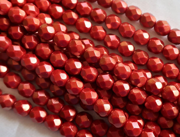 lot of 25 6mm Halo Etserial Cardinal Red Czech glass beads, firepolished, faceted round beads with a metalilc look, C7201