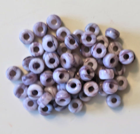 50 6mm Czech Opaque light Amethyst Purple & White Marbled glass pony beads, large hole crow beads, C6550 - Glorious Glass Beads
