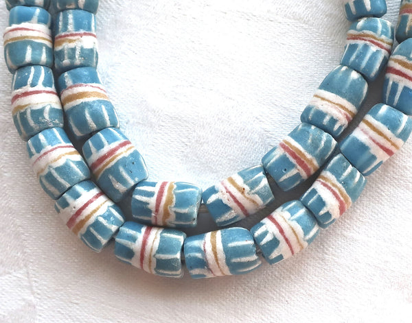 Lot of 7 blue & white African sand cast glass Ghana tube or barrel beads, 10-14mm x 8mm big hole rustic, earthy beads