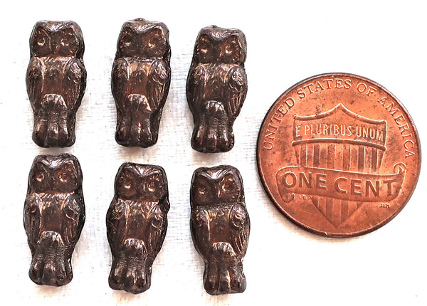 Lot of 10 small Czech glass owl beads, opaque black with a dark bronze finish, two sided earring beads, 15mm x 7mm 5401