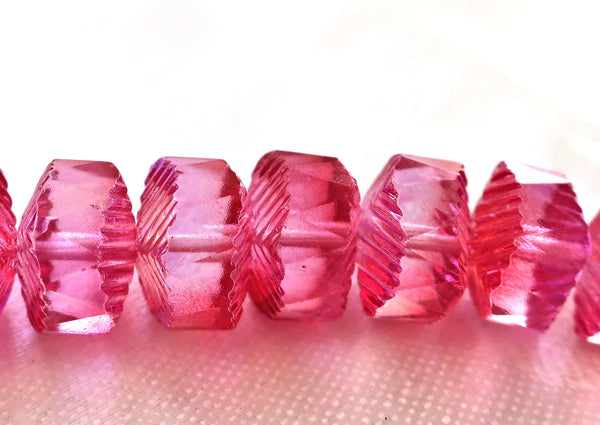Lot of 6 Czech glass faceted wavy rondelle beads, large 14 x 6mm fuchsia, bright pink AB chunky rondelles, focal beads C36101