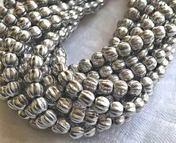 Fifty 5mm silver glass melon beads, Czech pressed glass beads C71150 - Glorious Glass Beads