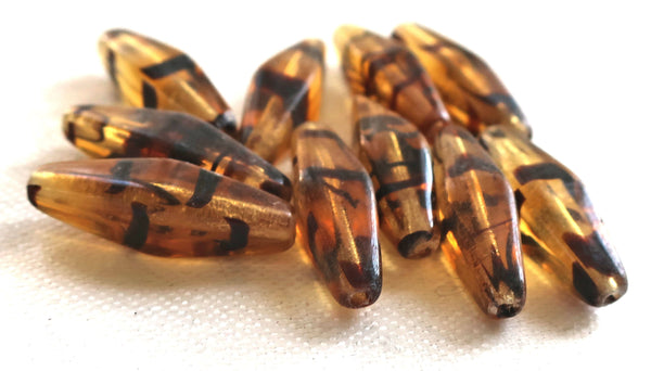 Lot of 10 24 x 9mm tortoiseshell brown long lantern or tube Czech glass beads 0601 - Glorious Glass Beads