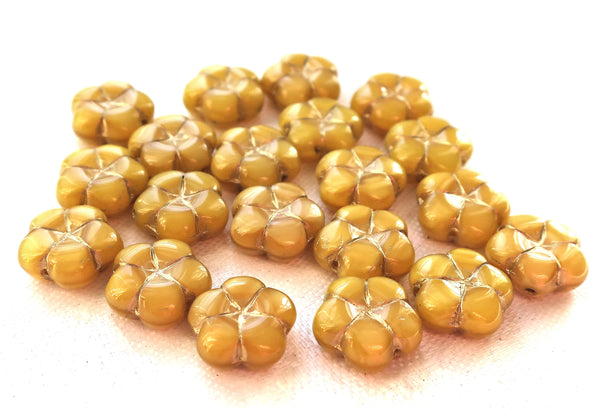 Lot of ten14mm table cut, carved,opaque, marbled mustard yellow with gold accents, Czech glass flower beads C05101 - Glorious Glass Beads