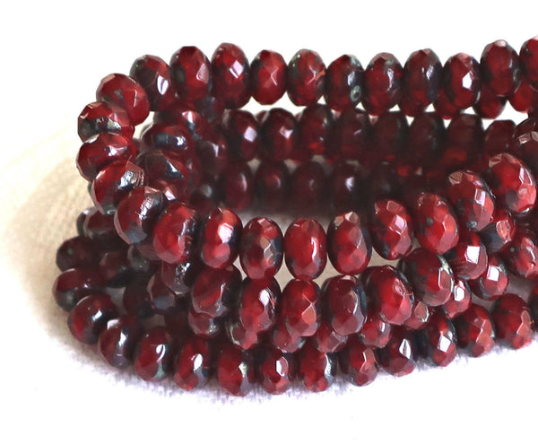 30 small, garnet red picasso puffy rondelle beads, 3mm x 5mm faceted Czech glass rondelles 51101 - Glorious Glass Beads