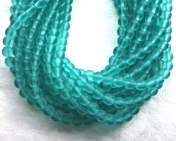 50 6mm transparent teal, blue green, druks, matte Czech glass round druk beads, C1750 - Glorious Glass Beads