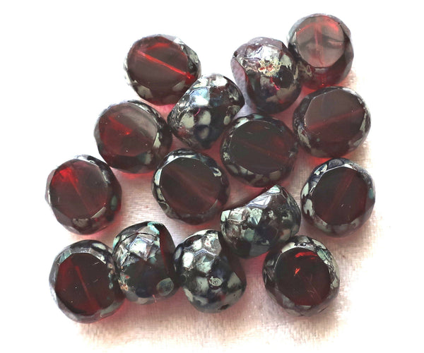 Five 12mm round, faceted. table cut Czech glass beads, burgundy, garnet red picasso window beads, chunky statement , focal beads 44101