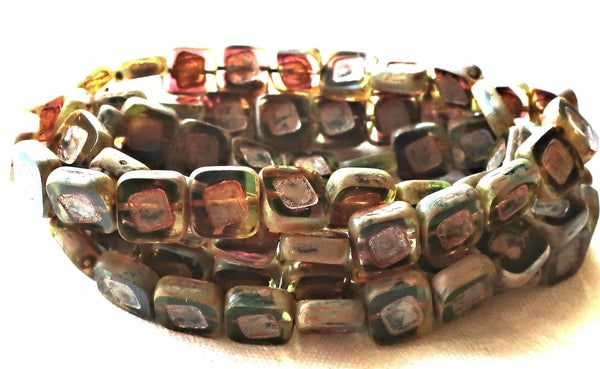 Ten square Czech glass beads, 11 x 11mm transparent jonquil & amethyst mix, table cut, carved, rustic, picasso beads,C04101