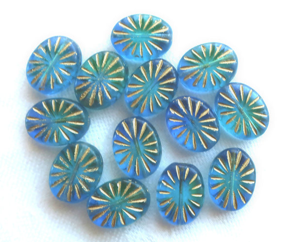 Five Oval Czech glass sunburst beads, 14 x 11mm , transparent blue green 5mm thick beads with gold accents front and back C5601