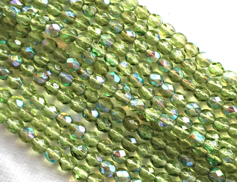 Lot of 50 4mm Olive, Olivine Green AB Czech glass beads, firepolished, faceted round beads C8501