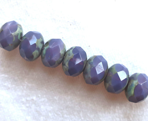 25 Czech glass faceted puffy rondelle beads, translucent lavender,  6 x 8mm purple, violet blueberry picasso rondelles 82201 - Glorious Glass Beads