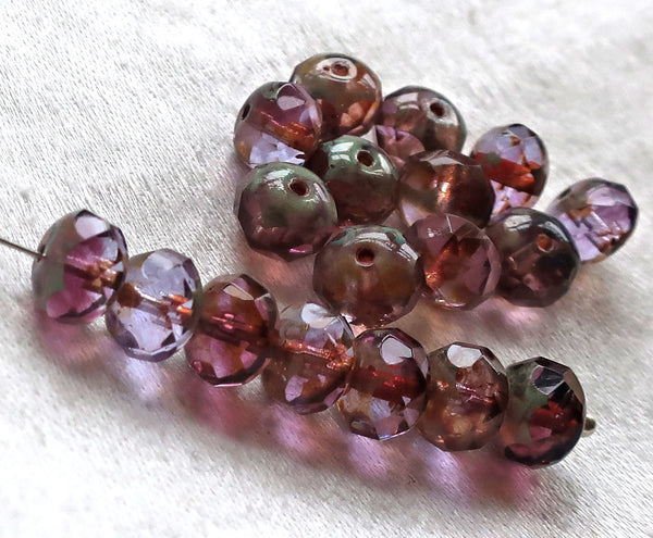 25 Czech glass faceted puffy rondelles, 6 x 8mm transparent amethyst or purple & lavender, lilac mix, rondelle beads on sale 07101 - Glorious Glass Beads