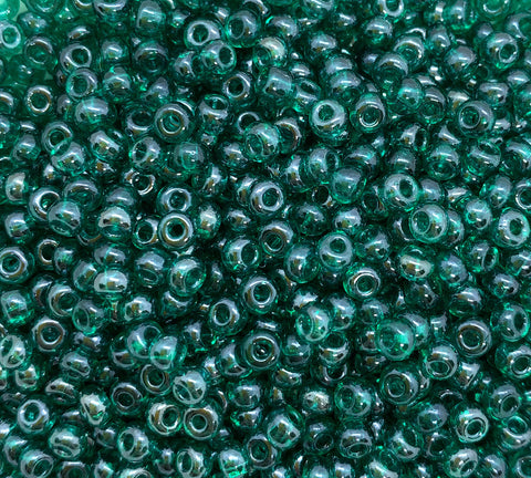 24 grams Czech glass seed beads - 6/0 teal luster blue green Preciosa Rocaille seed beads - C0055