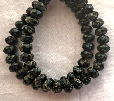 30 small Czech glass puffy rondelle beads - 3mm x 5mm - opaque jet black w/ a full picasso coat - faceted rondelles 5601 - Glorious Glass Beads