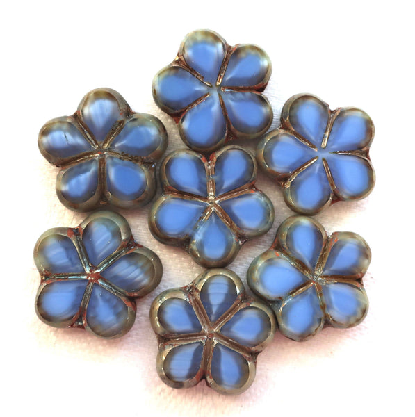 Lot of five 17mm table cut, carved,opaque, marbled denim blue with silver picasso accents, Czech glass flower beads C51105 - Glorious Glass Beads
