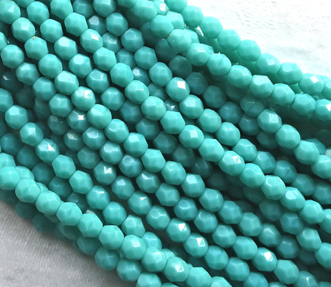 Lot of 50 4mm Turquoise Green Czech glass beads, opaque blue green firepolished, faceted round beads, C7601