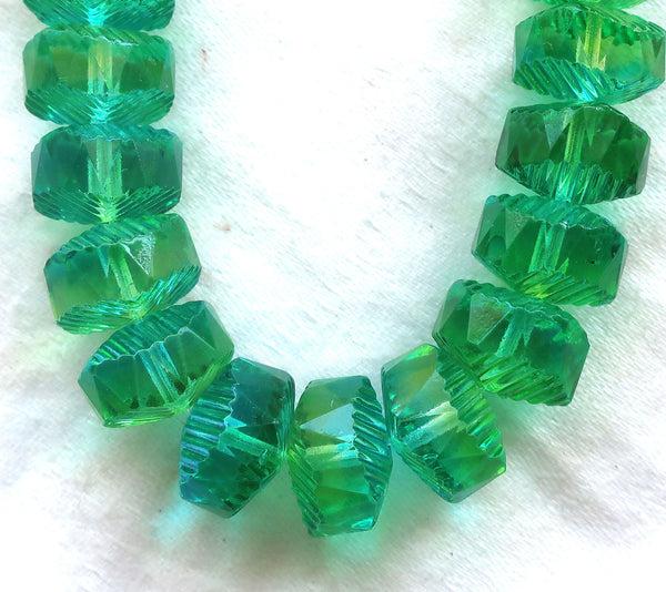Six Czech glass faceted wavy rondelle beads, large 14 x 6mm aqua blue & lime green AB, chunky rondelles, C18101