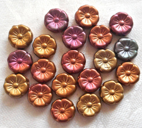 Lot of 20 12mm purple. blue, pink, orange & gold metallic Czech glass flower beads, bronze iris pressed glass Hawaiian flowers, C06101